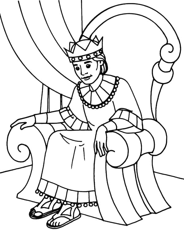 King Sitting On Throne Colouring Pages page 2