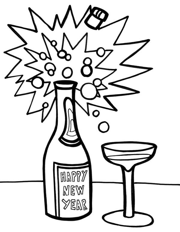 New Year, : A Bottle of Campagne on New Years Eve Coloring Page