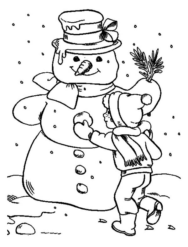 Winter, : A Children Finishing His Giant Snowman Coloring Page