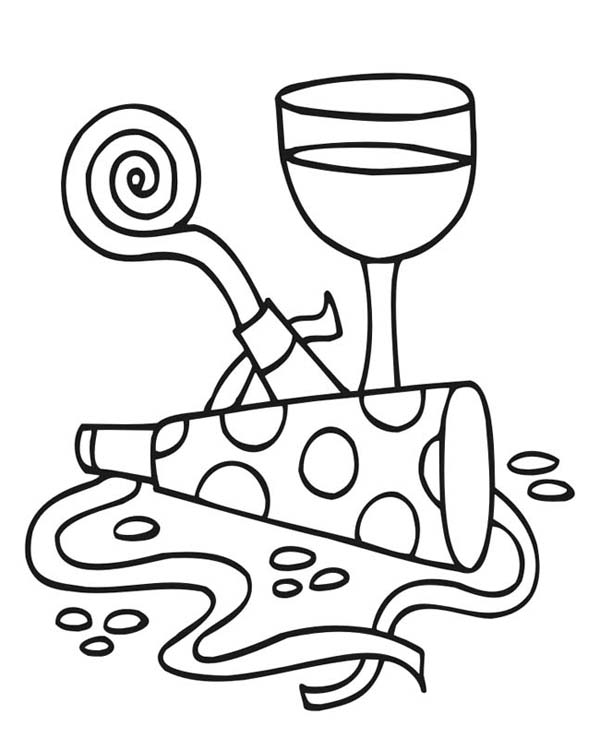 New Year, : A Complete New Years Party Sets Coloring Page