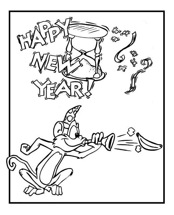 New Year, : A Cute Monkey on New Years Party Coloring Page