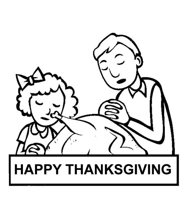 Thanksgiving Day, : A Family Making Pray on Thanksgiving Day Coloring Page