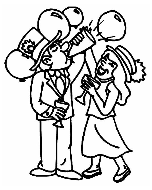 New Year, : A Fun New Years Eve Party at the Office  Coloring Page