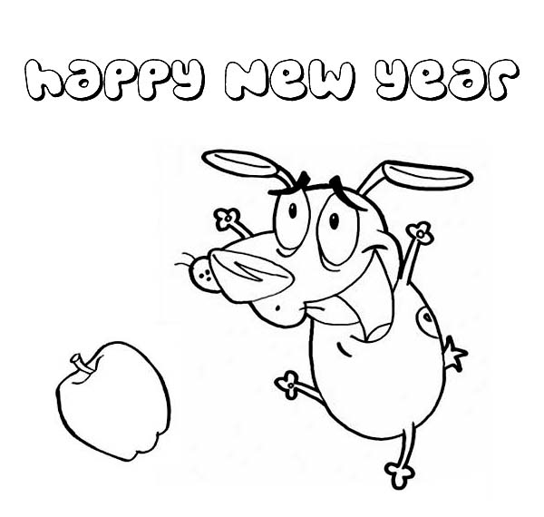 New Year, : A Funny Dog Dancing in New Years Party Coloring Page