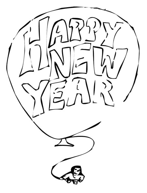 New Year, : A Giant Balloon with New Years Message Coloring Page