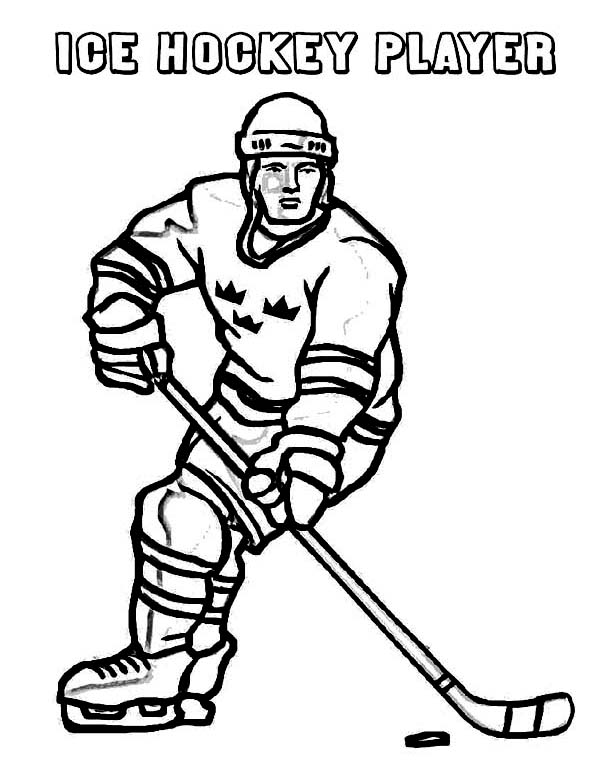 Winter, : A Hockey Player on Winter Sport Coloring Page