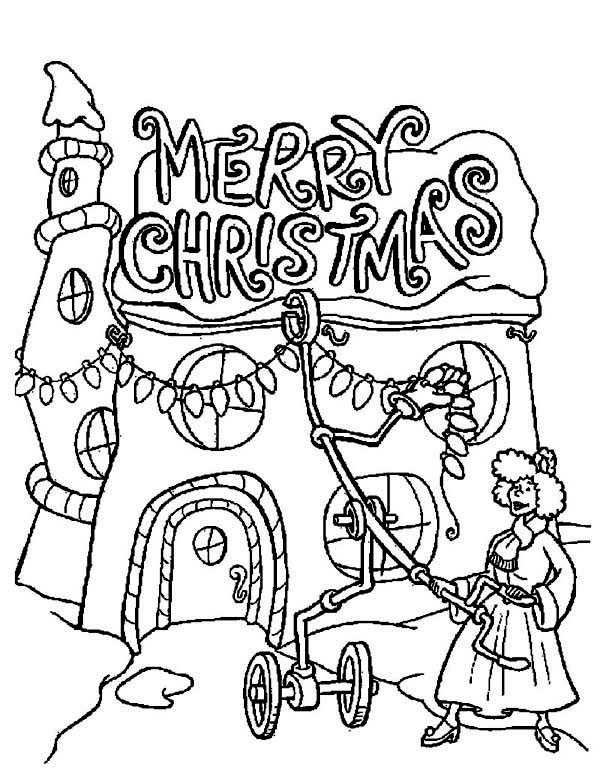 Christmas, : A Lady Decorating Her House for Christmas Coloring Page