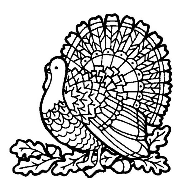 Thanksgiving Day, : A Mozaic Style Thanksgiving Day Turkey Coloring Page