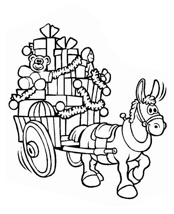 Christmas, : A Mule with a Cart Full of Christmas Presents Coloring Page