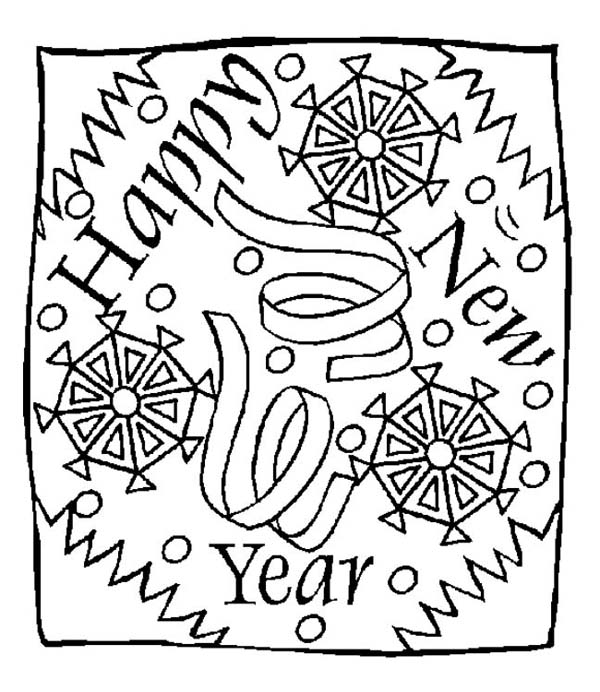 New Year, : A New Year Greeting Message Coloring Page
