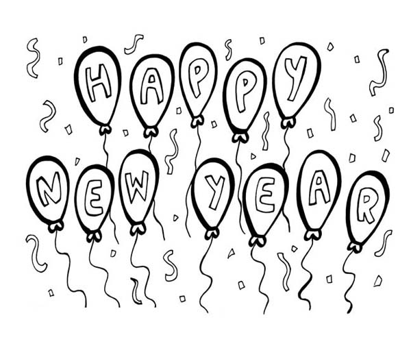 New Year, : A Nice Happy New Years Balloon Decorations Coloring Page
