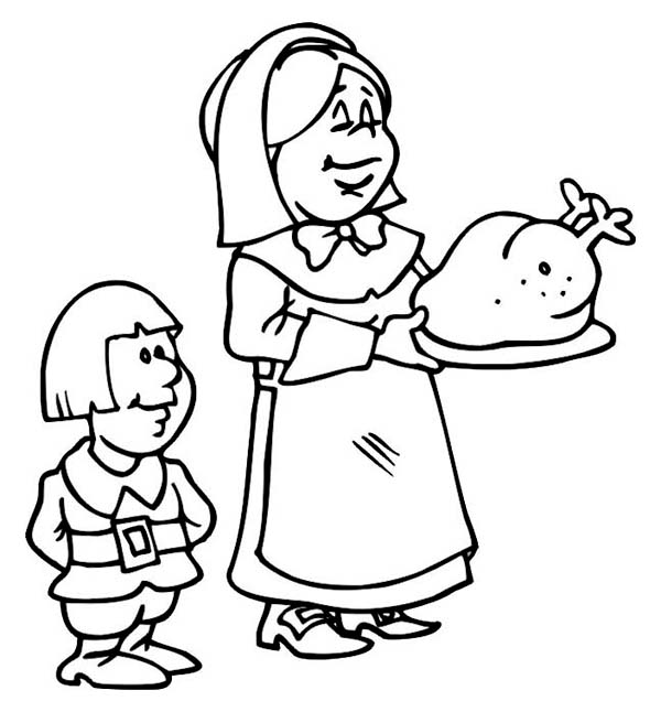 Thanksgiving Day, : A Pilgrim Family Preparing Thanksgiving Day Turkey Coloring Page