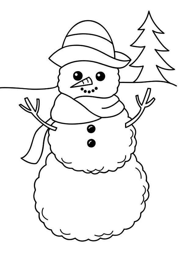 Winter, : A Simple Winter Snowman Figure Coloring Page