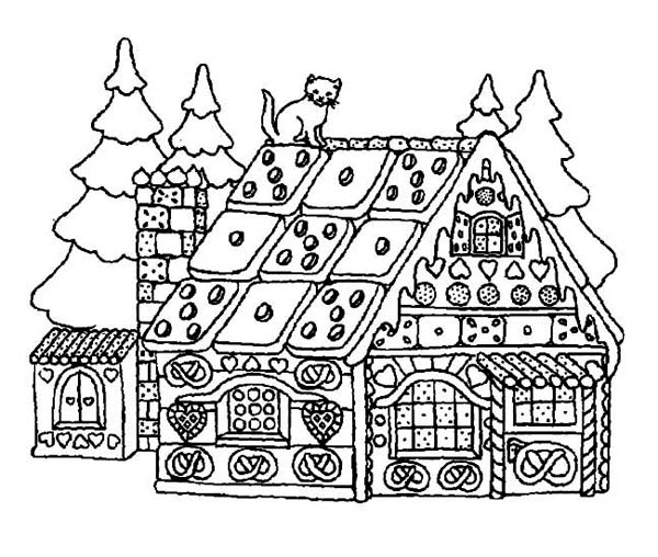 Christmas, : A Yummy House Made of Candy for Christmas Coloring Page