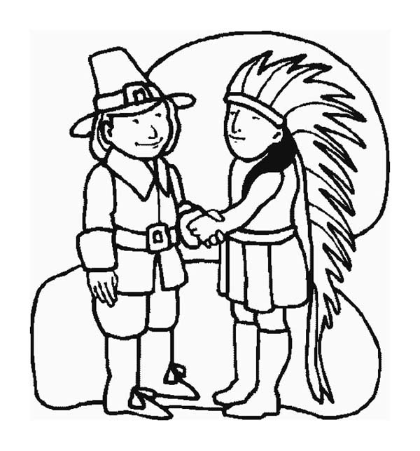 Thanksgiving Day, : An Indian Chief and A Pilgrim Shake Hand on Thanksgiving Day Coloring Page