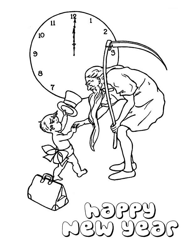 New Year, : Baby New Year Shake Hand with Father Time  Coloring Page