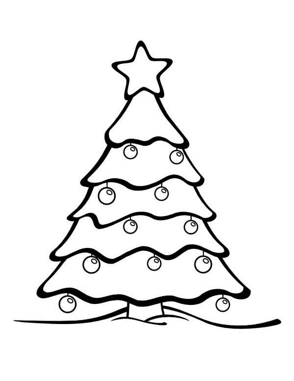 Winter, : Beautiful Christmas Tree on Winter Coloring Page Coloring Page
