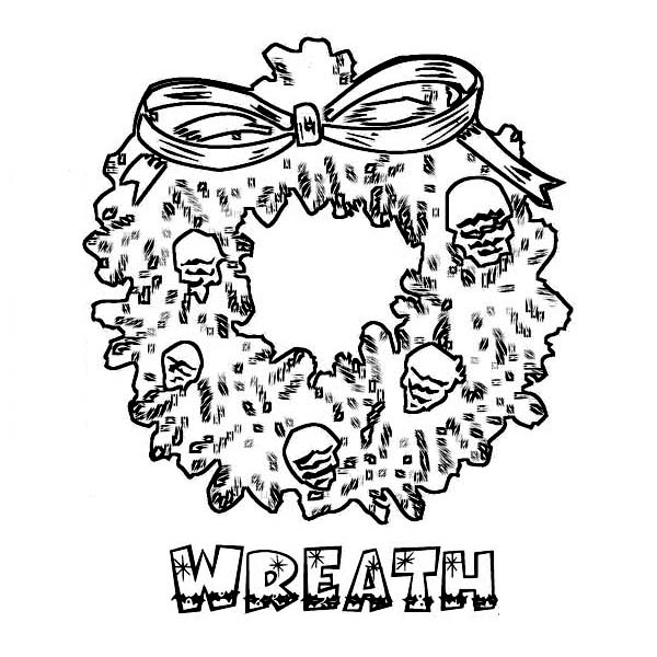 Christmas, : Beautiful Christmas Wreath Coloring Page