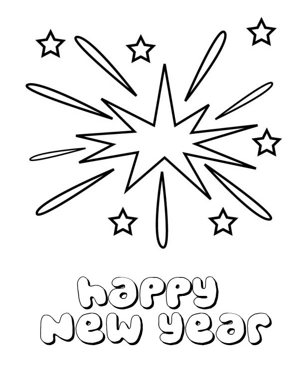 New Year, : Beautiful Firework  on New Years Eve Coloring Page