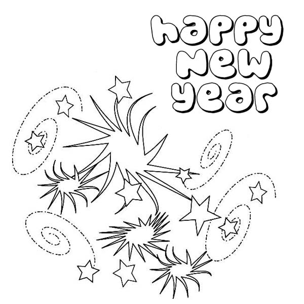 New Year, : Beautiful New Years Eve Firework Coloring Page