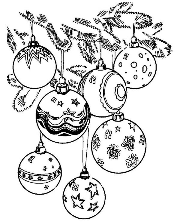 Christmas, : Beautiful of Christmas Ball Ornaments Coloring Page