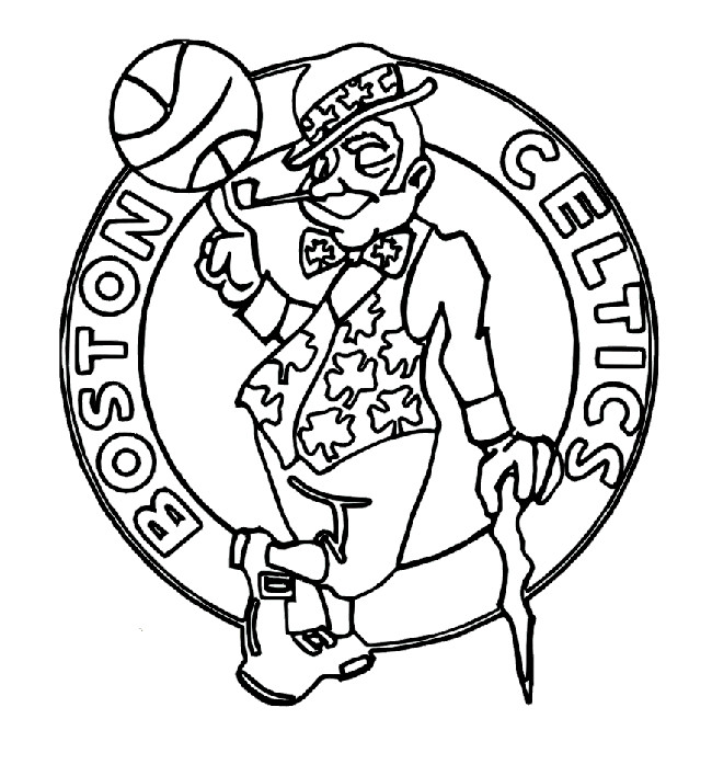 Basketball, : Boston Celtics Logo Coloring  Page