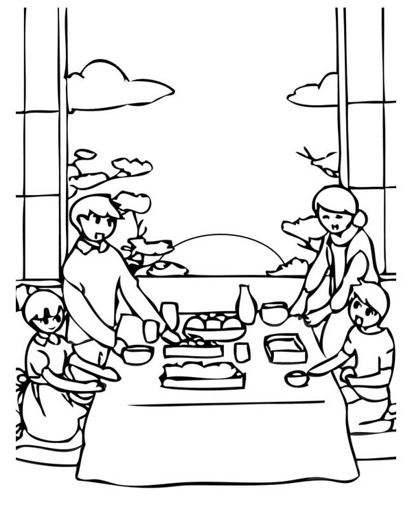 New Year, : Celebrating New Year in Asia Coloring Page