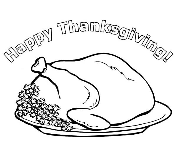 Thanksgiving Day, : Celebrating Thanksgiving Day with Delicious Turkey Coloring Page