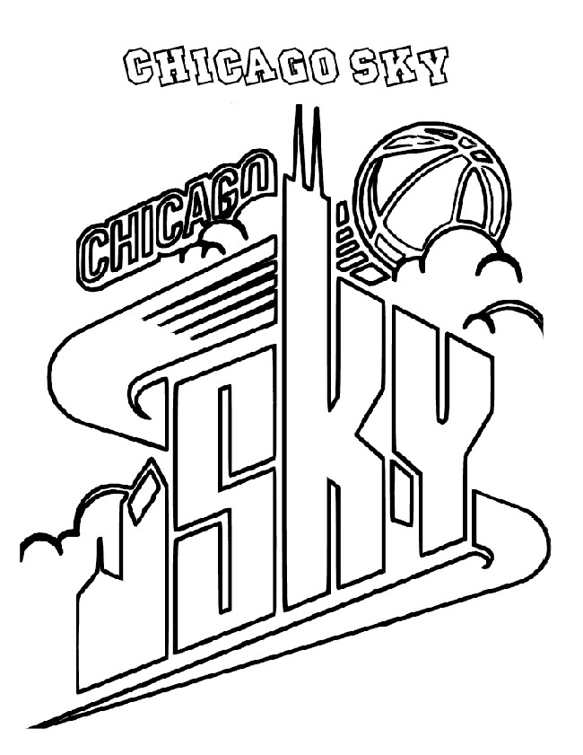 Basketball, : Chicago Sky Logo Coloring Page