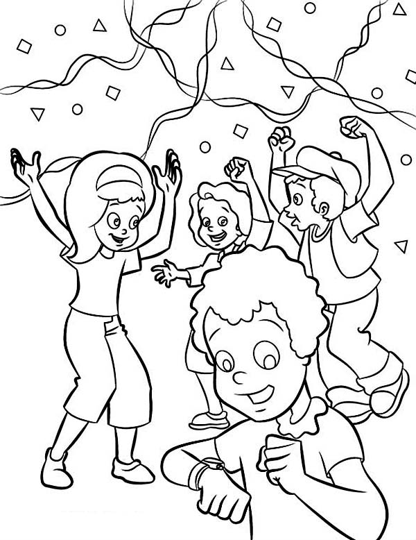 New Year, : Childrens Waiting the New Years Countdown Happily Coloring Page