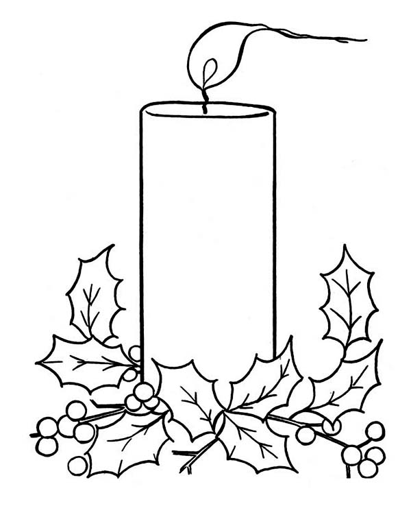 Christmas, : Christmas Candle on Light Coloring Page
