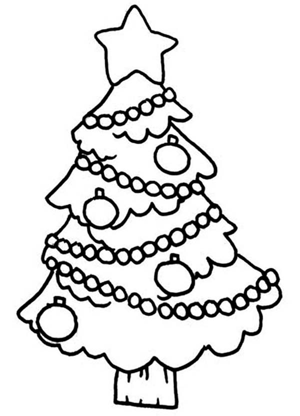 Christmas, : Christmas Tree Hanging Decoration Coloring Page