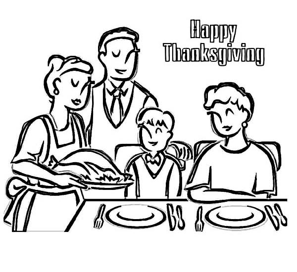 Enjoying Thanksgiving Dinner With Whole Family Coloring ...