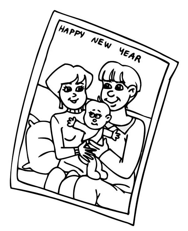 New Year, : Family Portrait of New Years Celebration Coloring Page