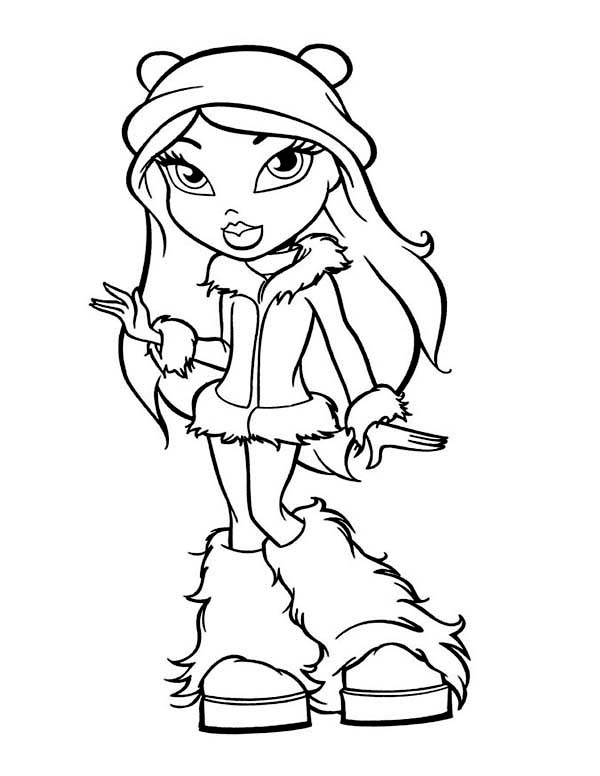 Winter, : Fancy Teen Girl in Winter Outfit Coloring Page