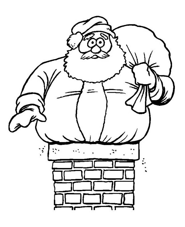 Christmas, : Fatty Santa in Trouble on Christmas Coloring Page