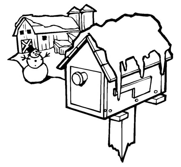 Christmas, : Frozen Mailbox on Christmas Day Coloring Page