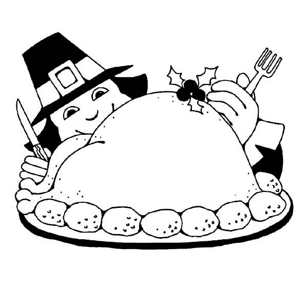 Thanksgiving Day, : Getting Ready for Thanksgiving Day Buffet Coloring Page