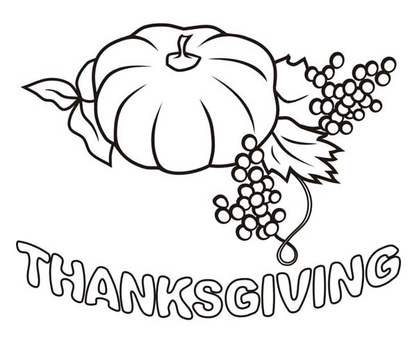 Thanksgiving Day, : Grape and Pumpkin for Thanksgiving Day Dinner Coloring Page