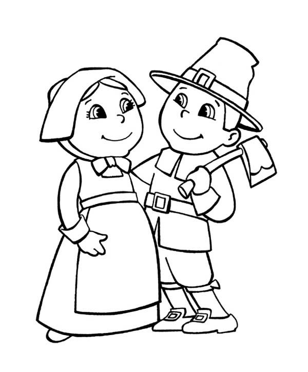 Thanksgiving Day, : Happy Pilgrim Couple Cheering Thanksgiving Day Coloring Page