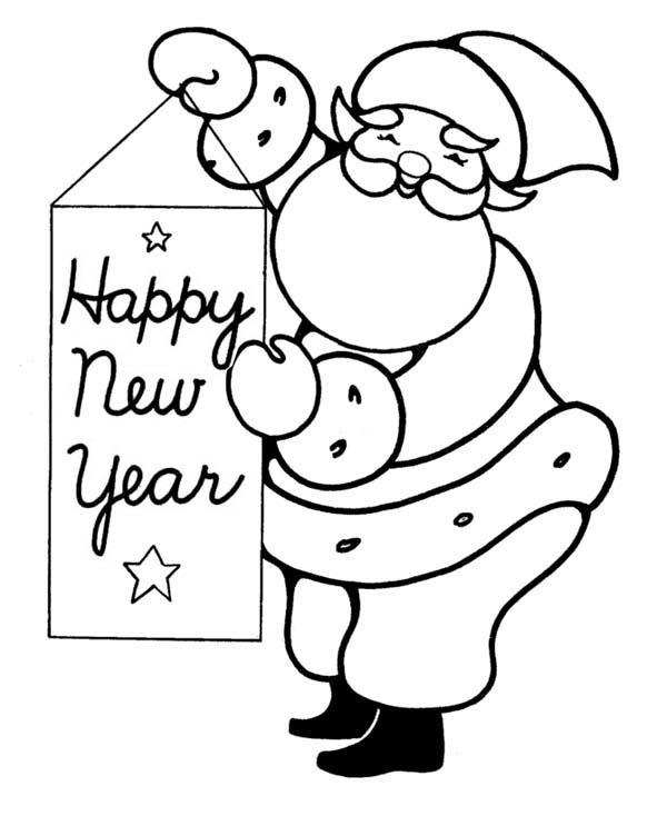 New Year, : Happy Santa with New Years Greeting Coloring Page