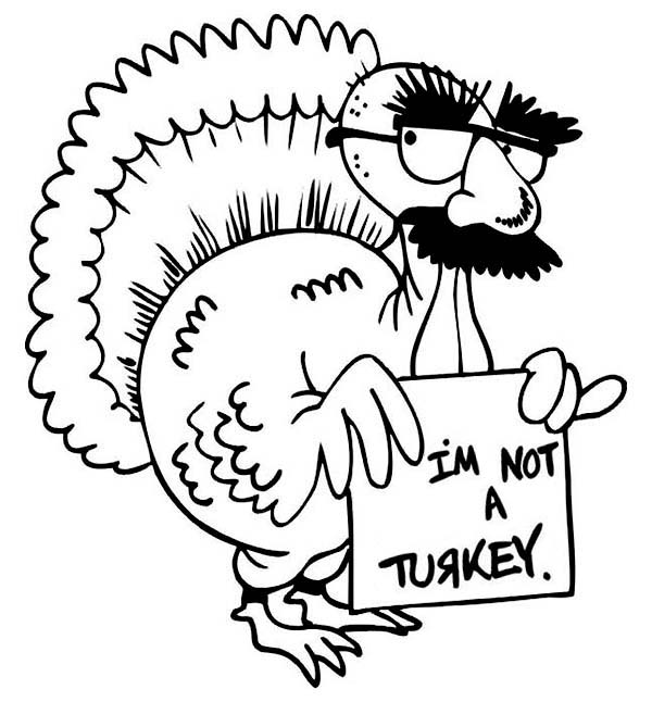Thanksgiving Day, : Hilarious Turkey Making Thanksgiving Day Jokes Coloring Page