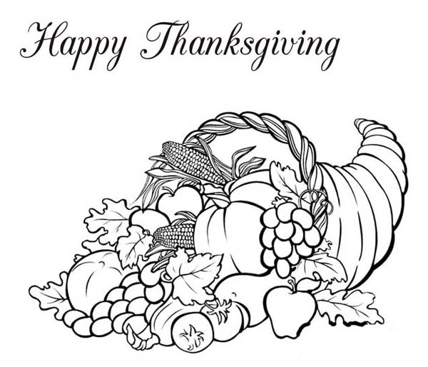 Thanksgiving Day, : Horn of Plenty Thanksgiving Day Fruit Basket Coloring Page