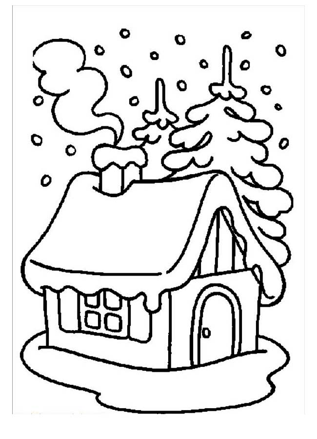 Winter, : House Covered by Snow During Winter Coloring Page