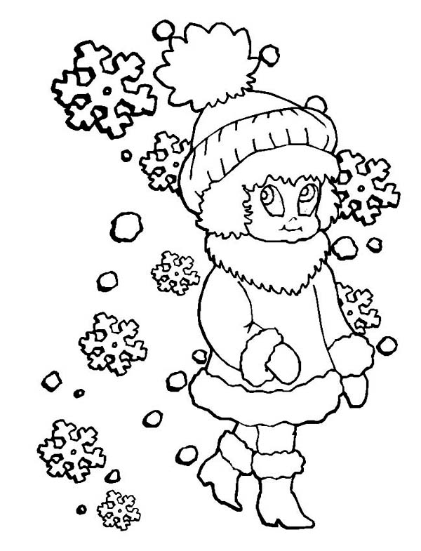 Winter, : Little Girl in Winter Outfit Coloring Page