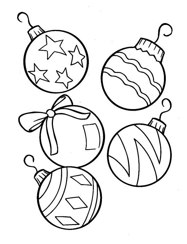 Christmas, : Lovely Christmas Ball Ornaments for Christmas Tree Coloring Page