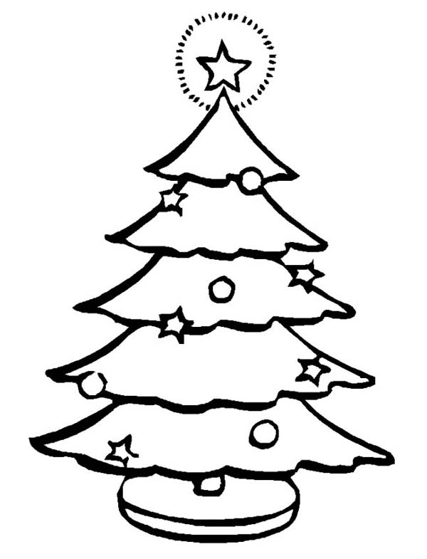 Christmas, : Lovely Christmas Tree with the Blinking Star at the Top Coloring Page