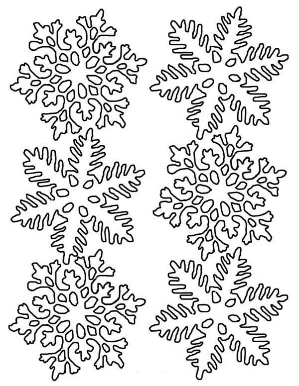 Winter, : Lovely Snowflakes in Many Different Form on Winter Coloring Page