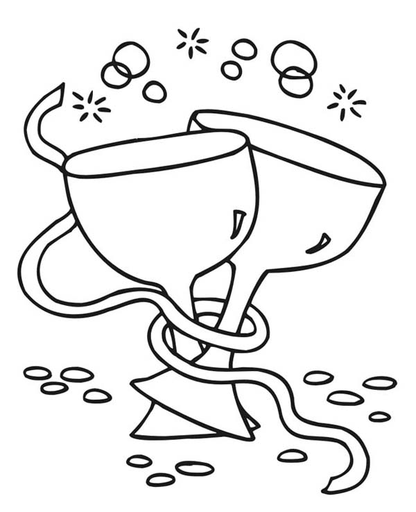 New Year, : Making a Toast and Wishes on New Years Eve Coloring Page