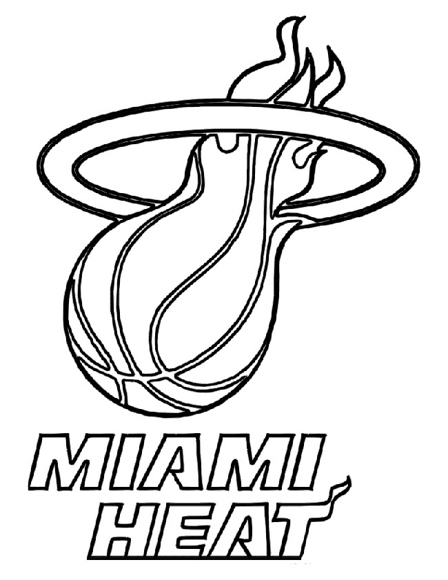 Basketball, : Miami Heat Baskeball Coloring Page